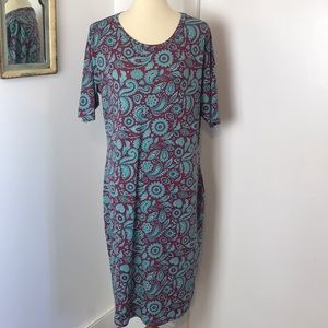 Lularoe Pink Floral Print Maria Dress 2XL